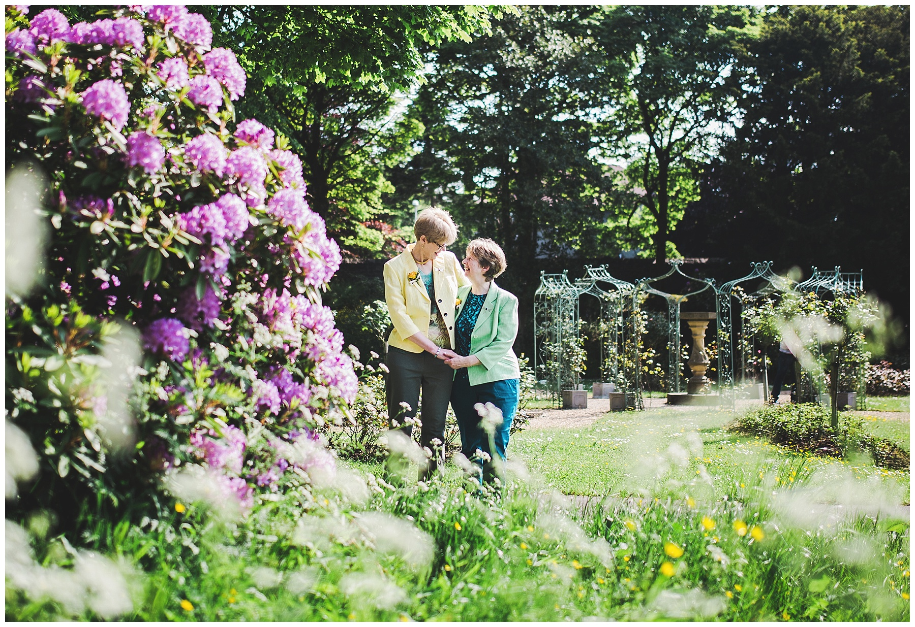 Lancashire wedding photography - couple in the gardens at Haworth art gallery