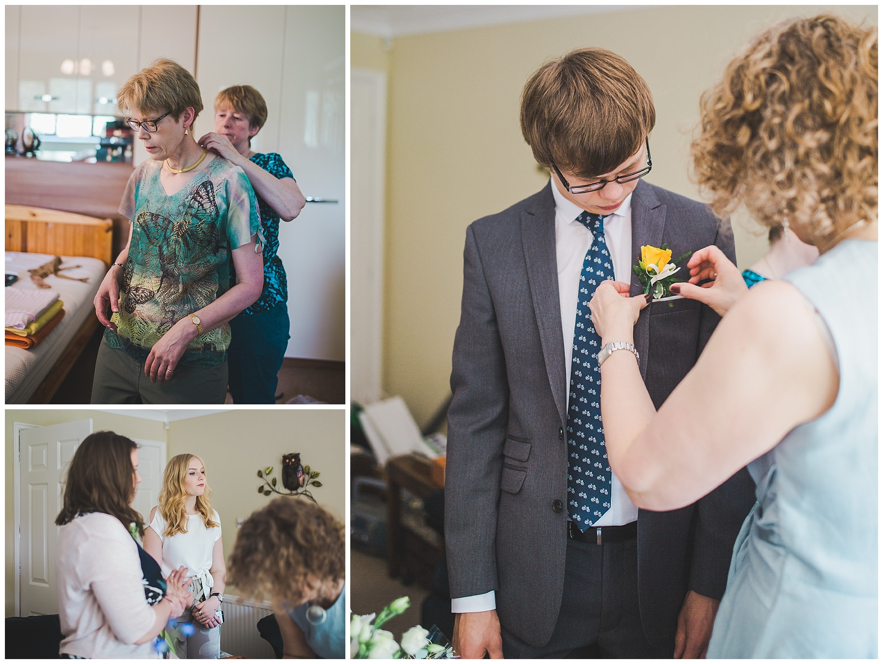 A helping hand needed to put the flower of a guest.