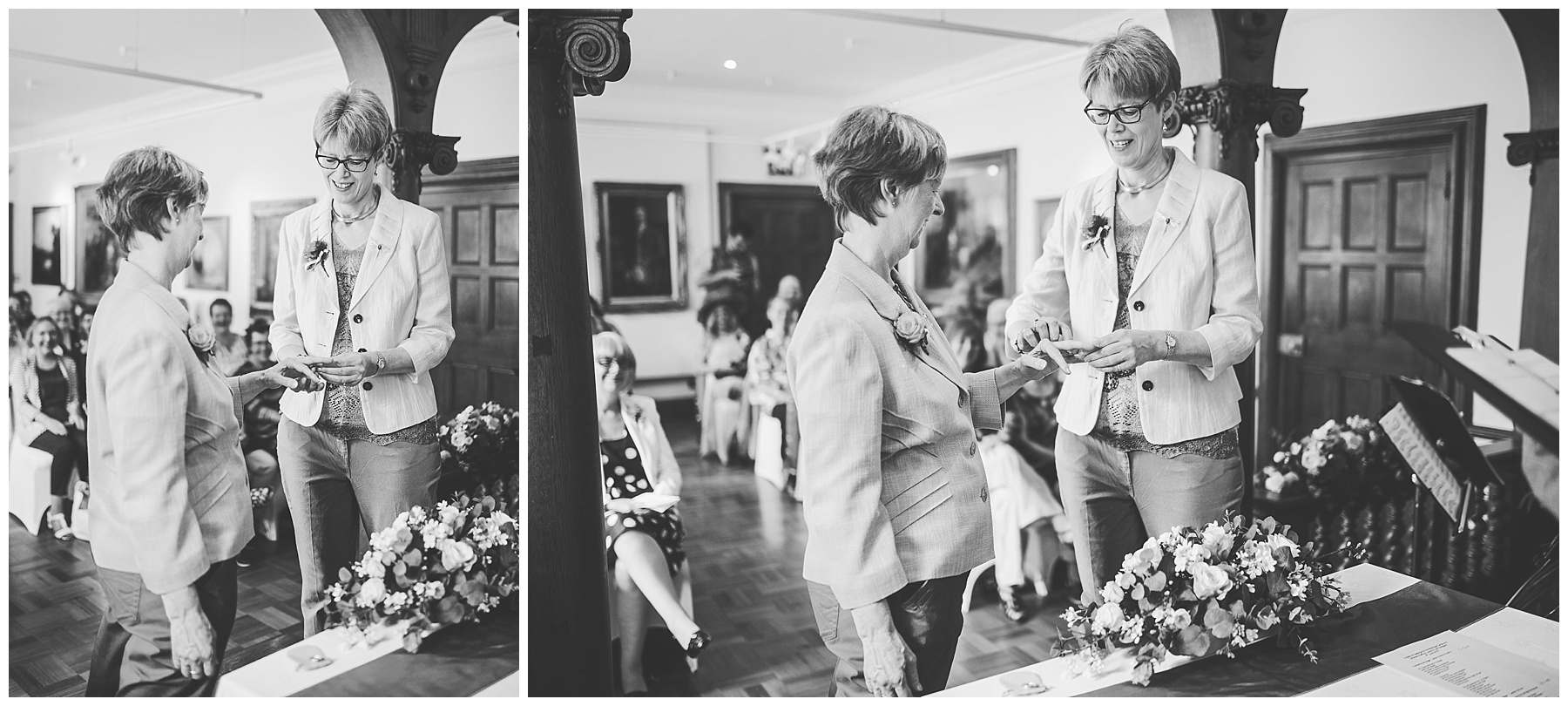 The special couple hand in hand - wedding ceremony at the haworth art gallery