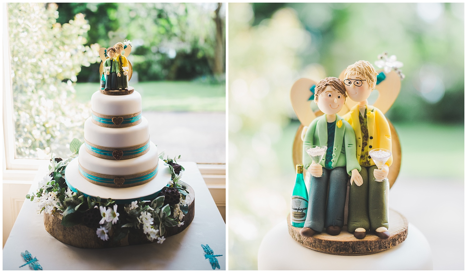 The wedding cake and cake topper.