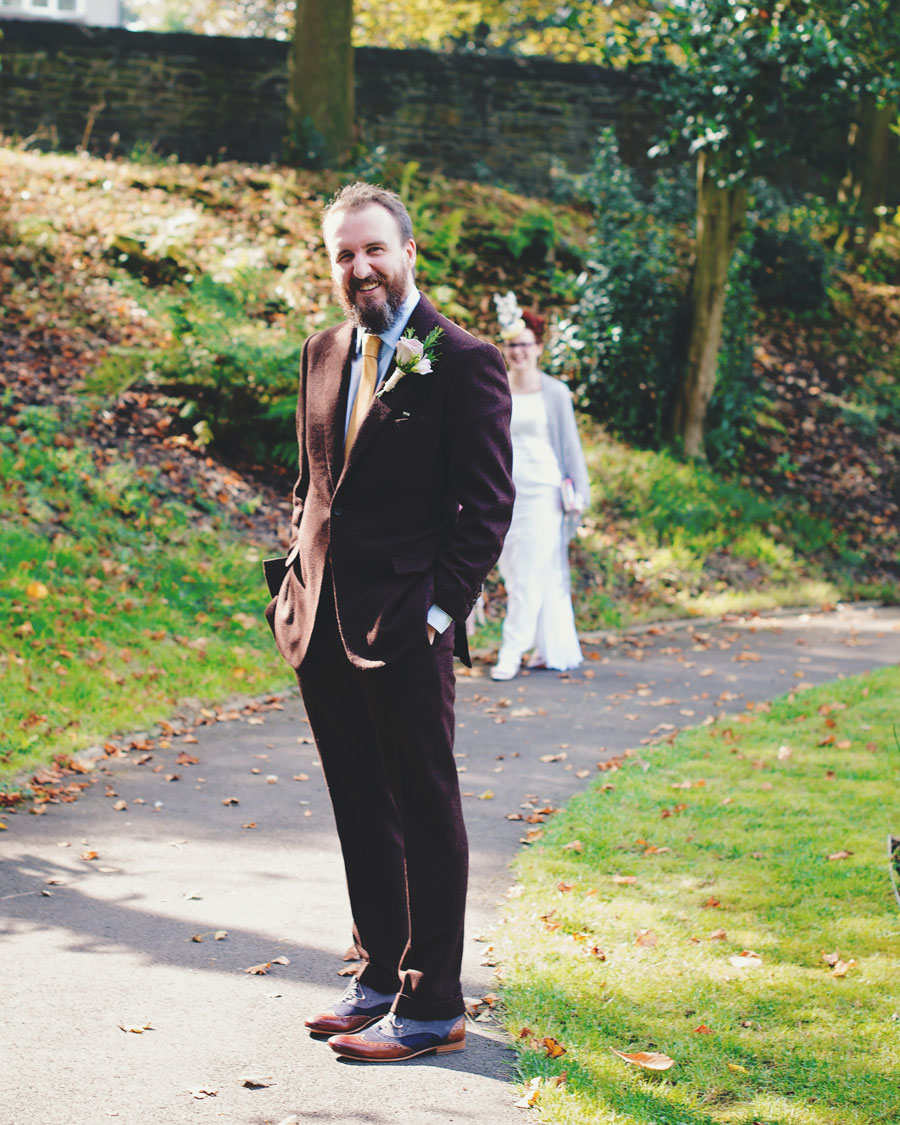 groom waiting for the bride - first look - lancashire wedding photographer