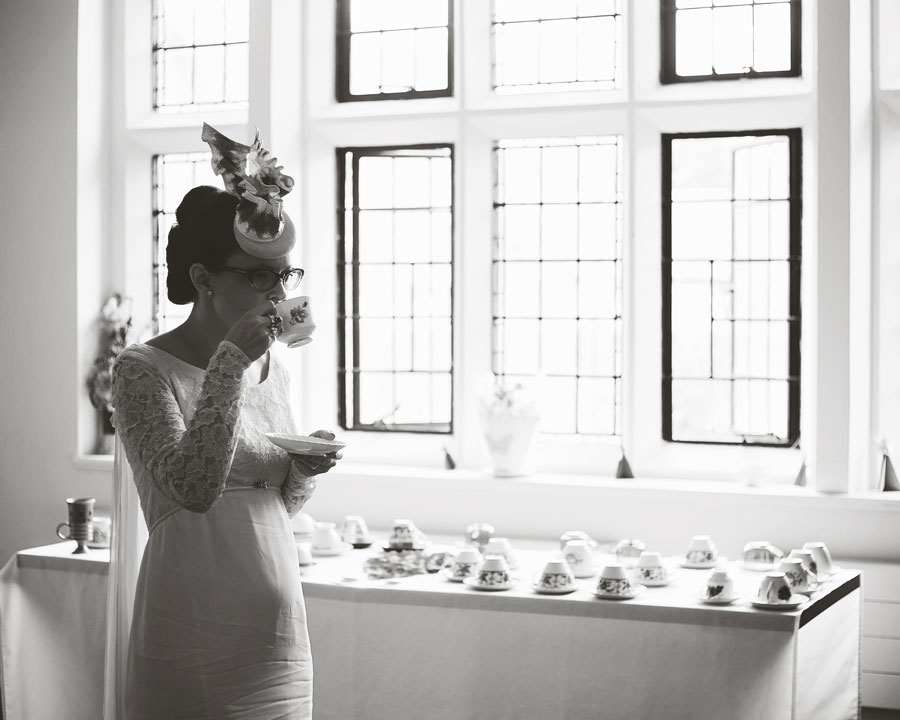 drinking tea - creative wedding portraits in lancashire