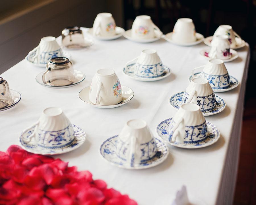 vintage tea cups - wedding photography Lancashire