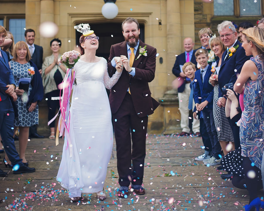 Haworth Art Gallery wedding - confetti