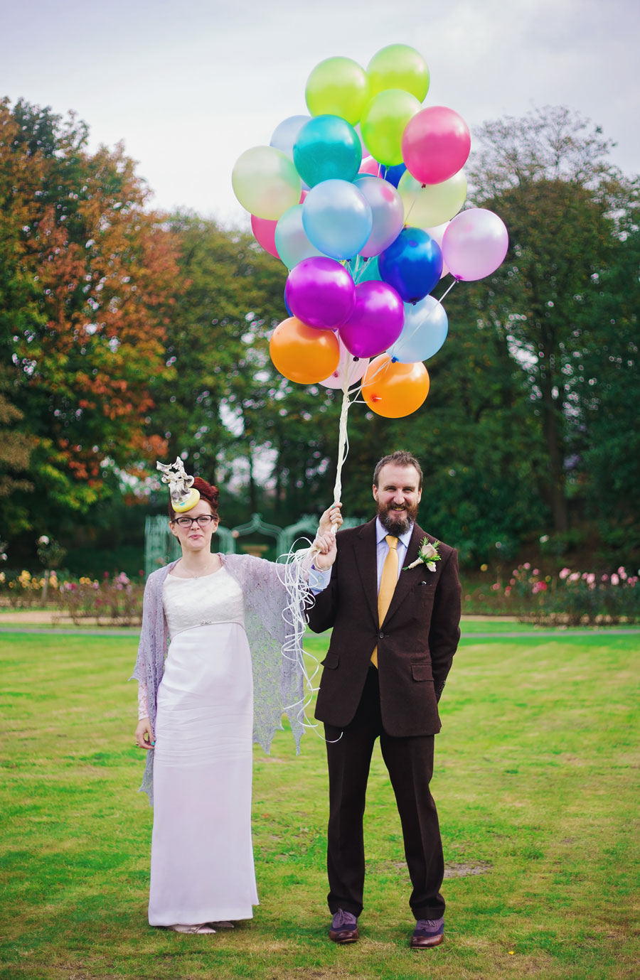 colourful wedding at Haworth Art Gallery