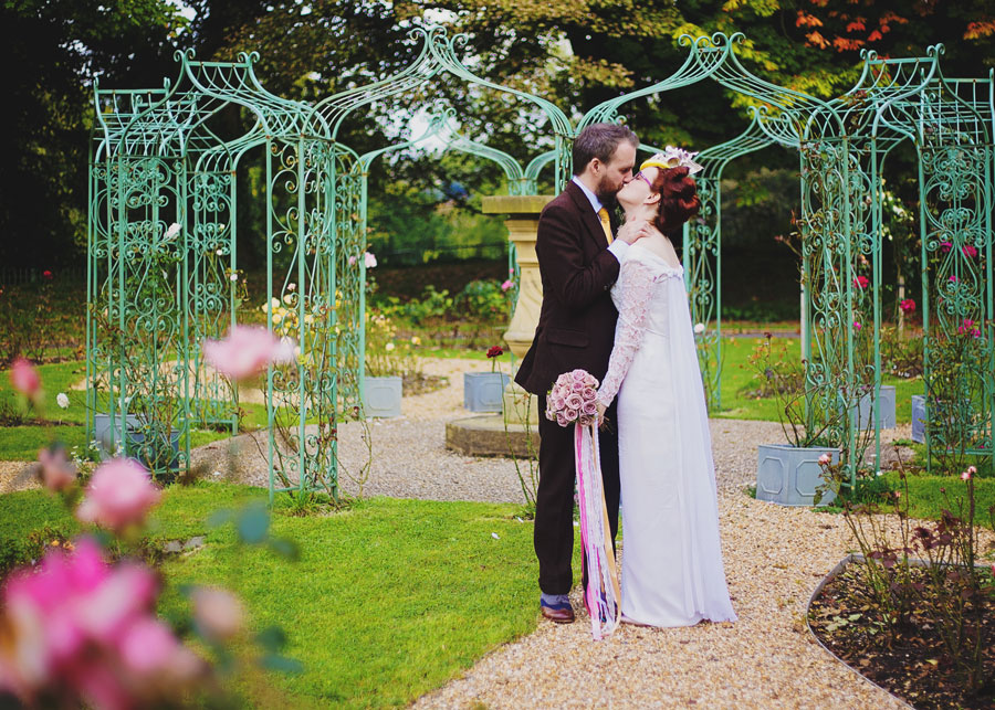 in the gardens at Haworth Art Gallery wedding venue