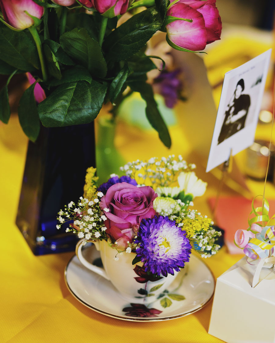 colourful table settings - Lancashire wedding