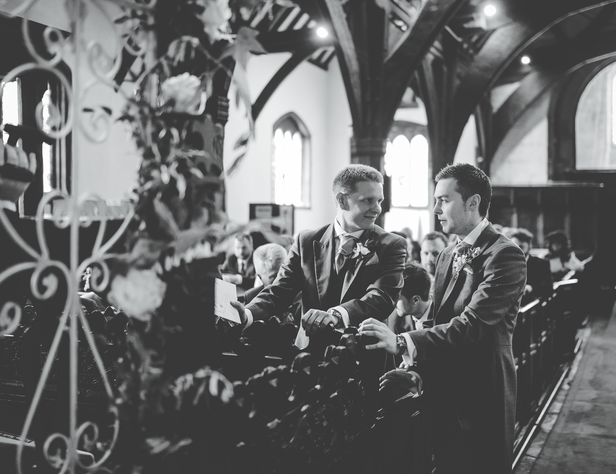 groom waits for bride to arrive - Cheshire wedding photographer