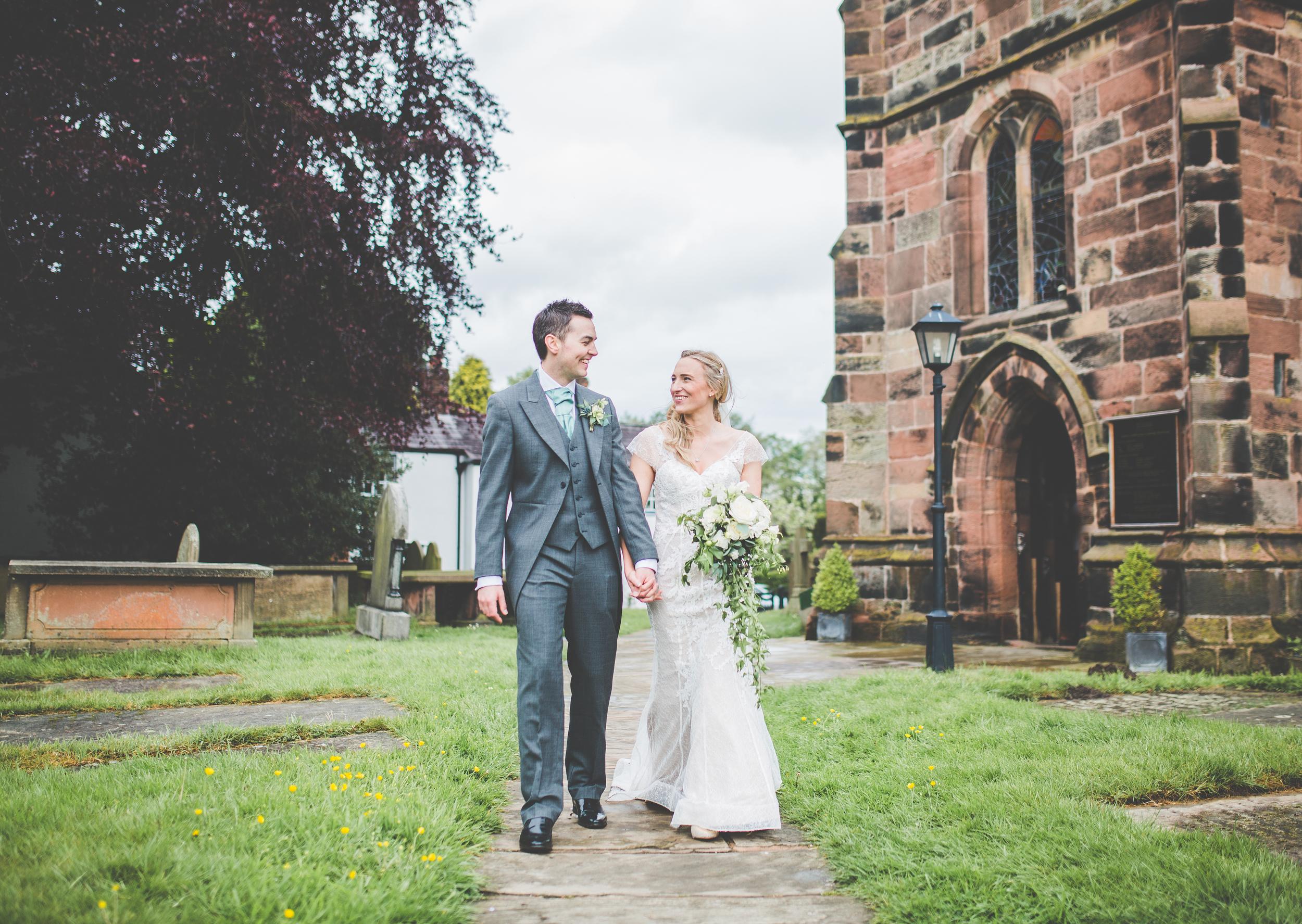 portraits outside church - wedding photography Cheshire