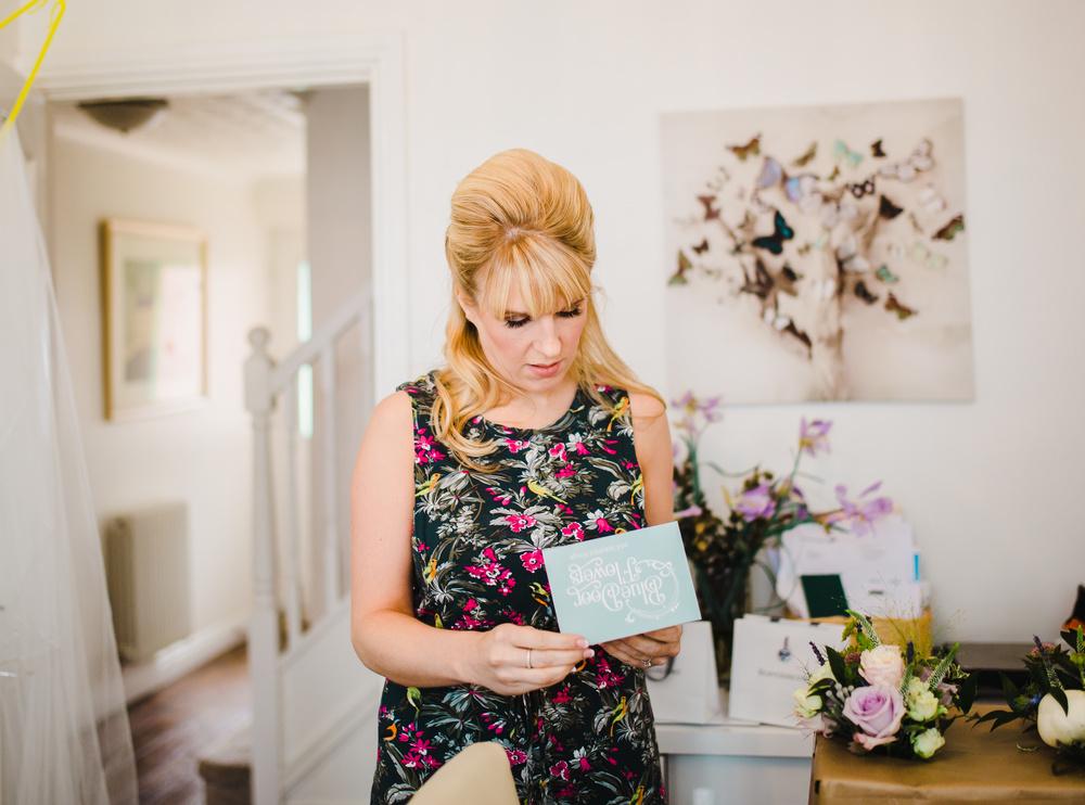 lancashire wedding photography - bride reading card