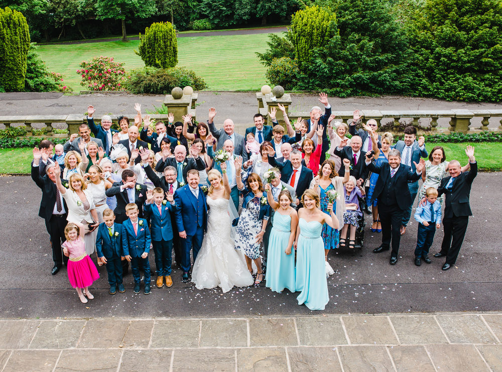 wedding picture of all the guests - lancashire wedding photographer