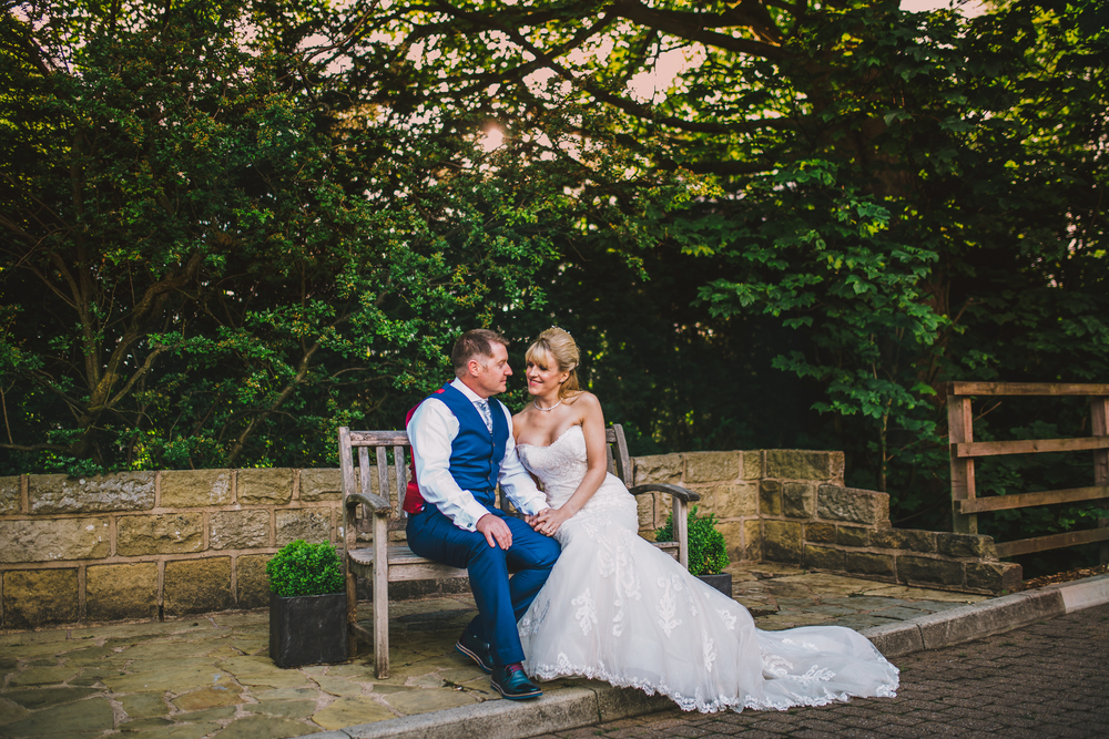 wedding images outside the fence gate in burnley