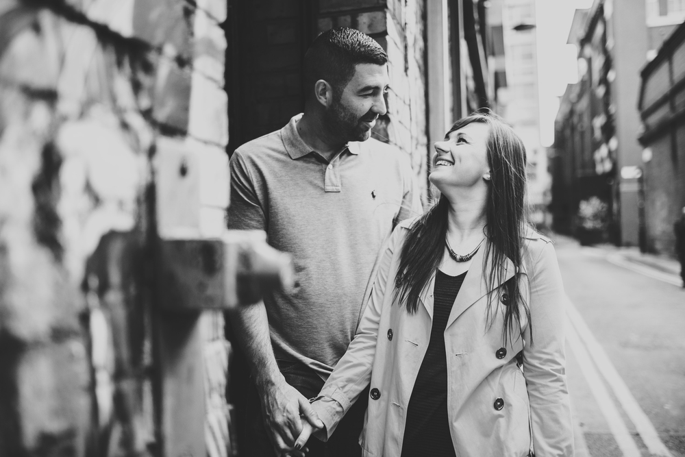 bride and groom in manchester city centre engagement shoot