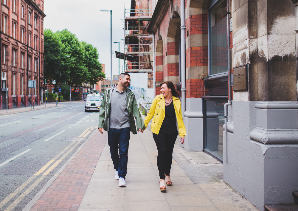 walking through manchester city centre