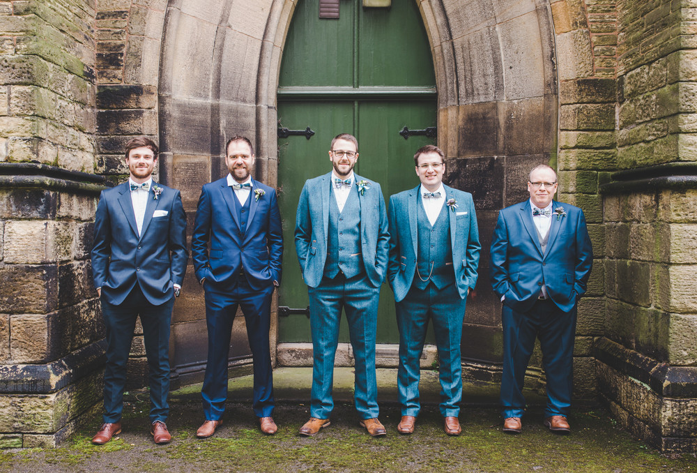 The groom and groomsmen all lined up ready for the Cheshire wedding.