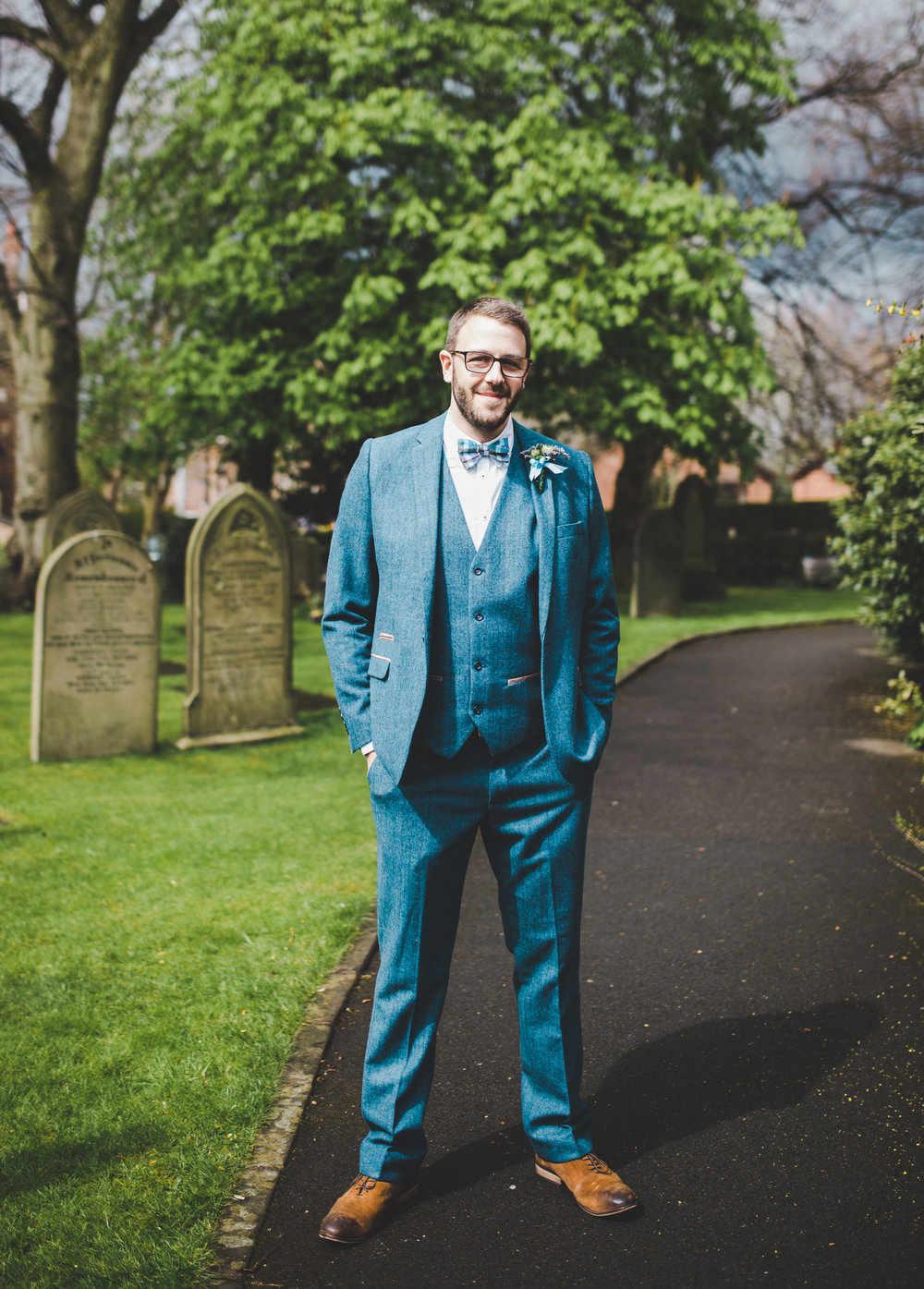 The handsome groom at The Village Hall, Cheshire.