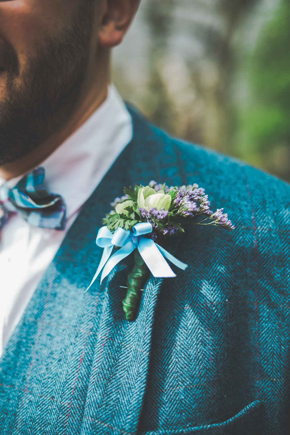 Cheshire wedding Photographer - detailed shots of groom's buttonhole