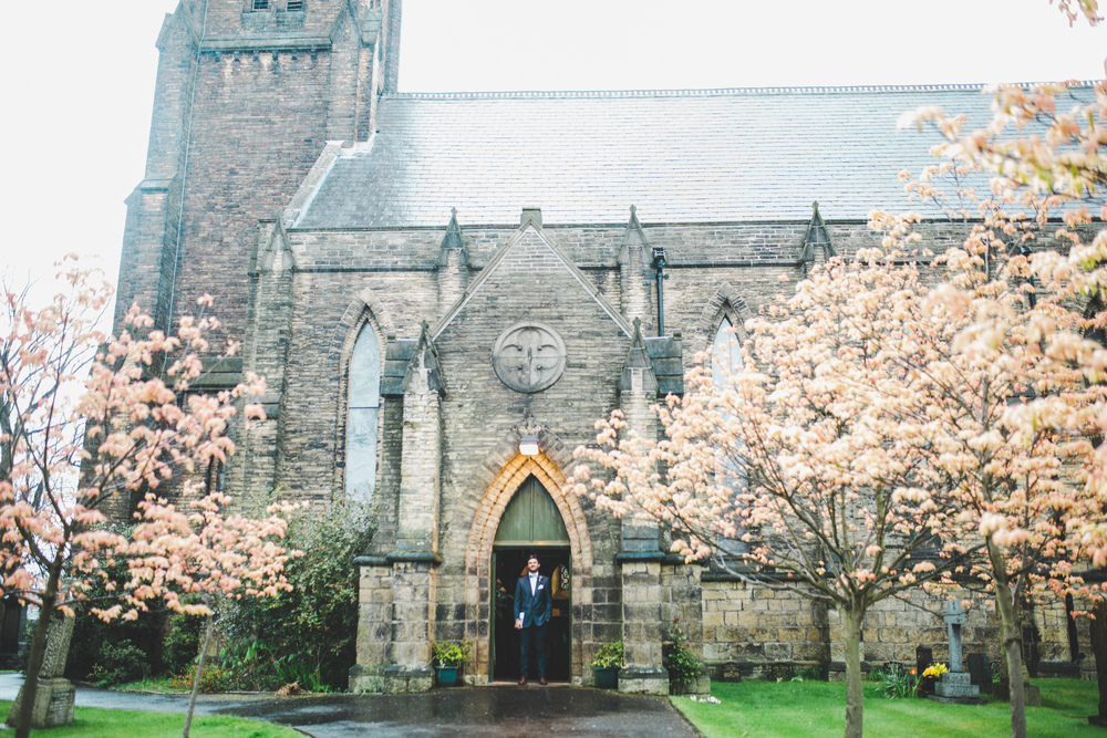 Exterior shot of the church - cheshire wedding.