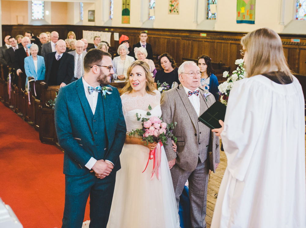 bride and groom see each other for the first time - cheshire wedding
