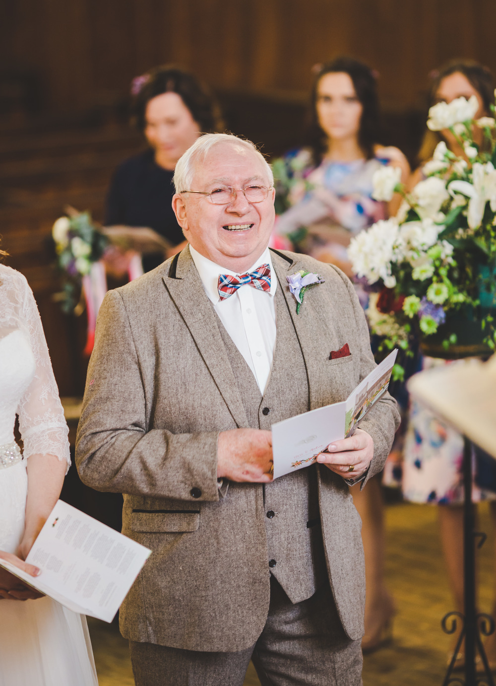 Big smiles from the father of the Cheshire bride.