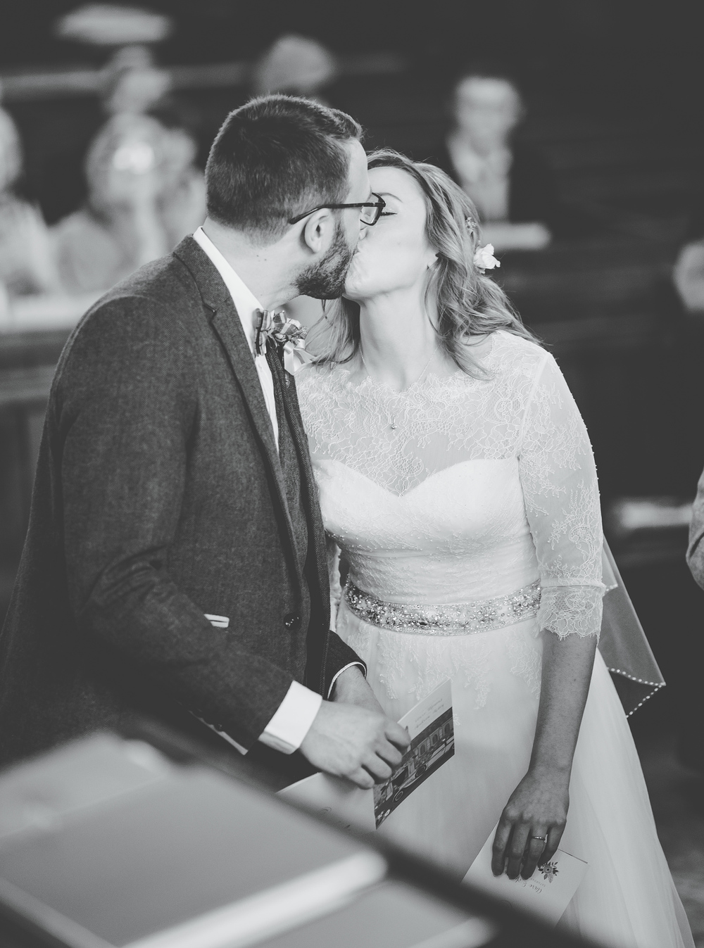 The bride and grooms first kiss - wedding photographer in cheshire