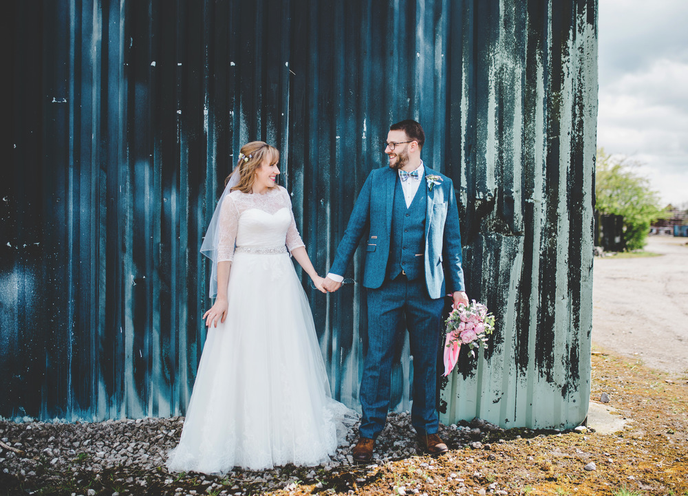 The bride and groom at Marthall hall wedding - modern wedding photographer in cheshire