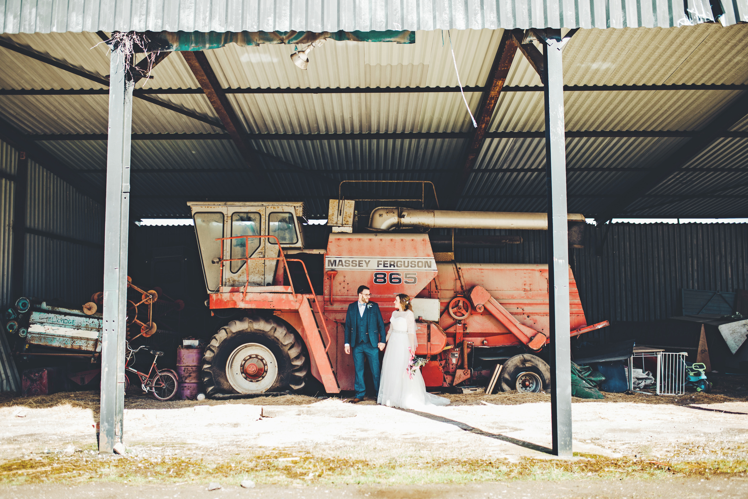 creative wedding portraits cheshire = farm wedding