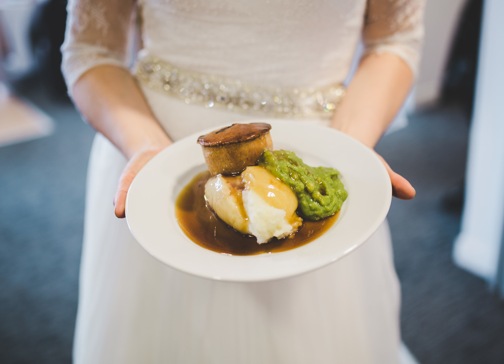 Pie and pea supper at cheshire wedding