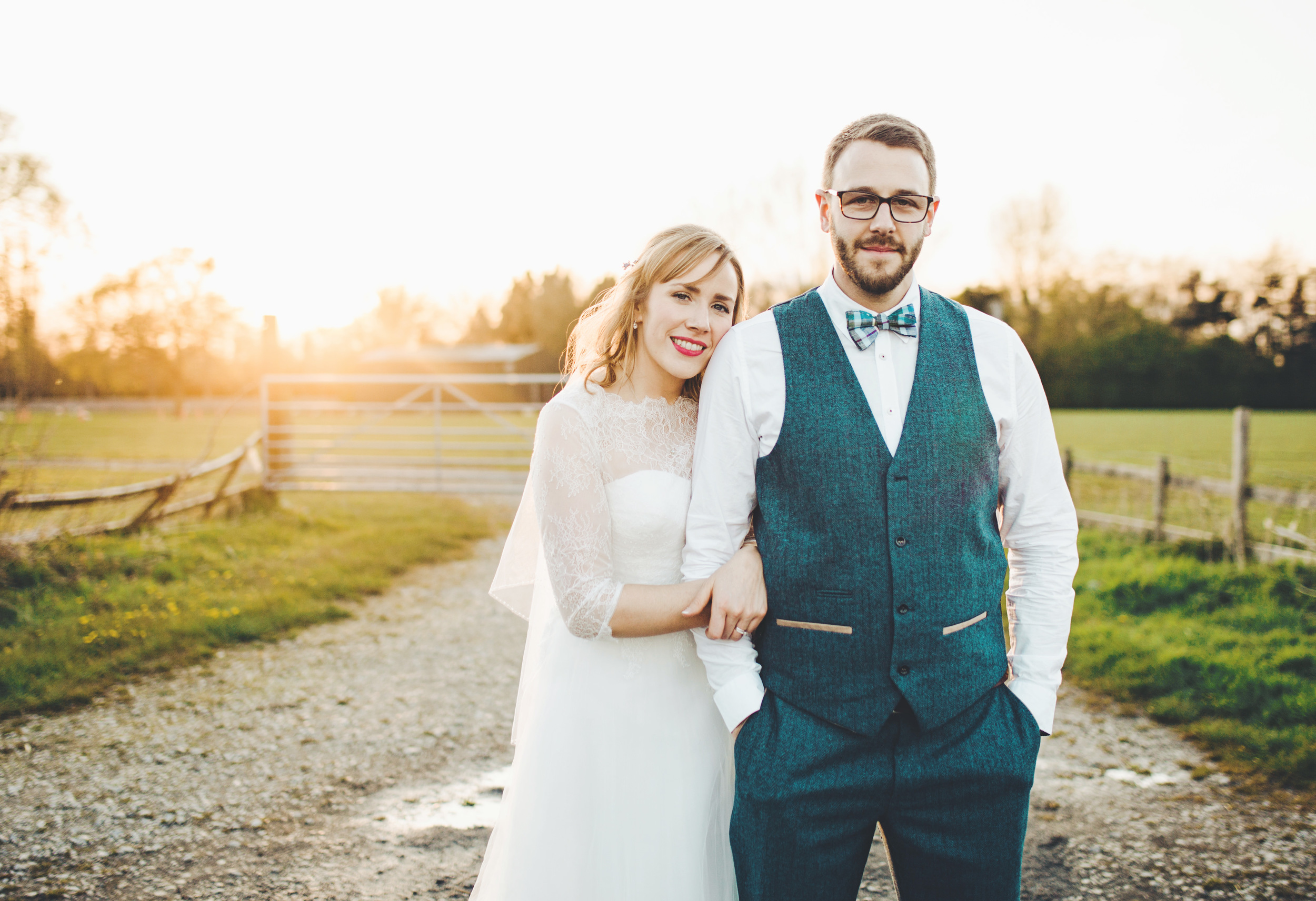 creative wedding photographer - sunset portraits