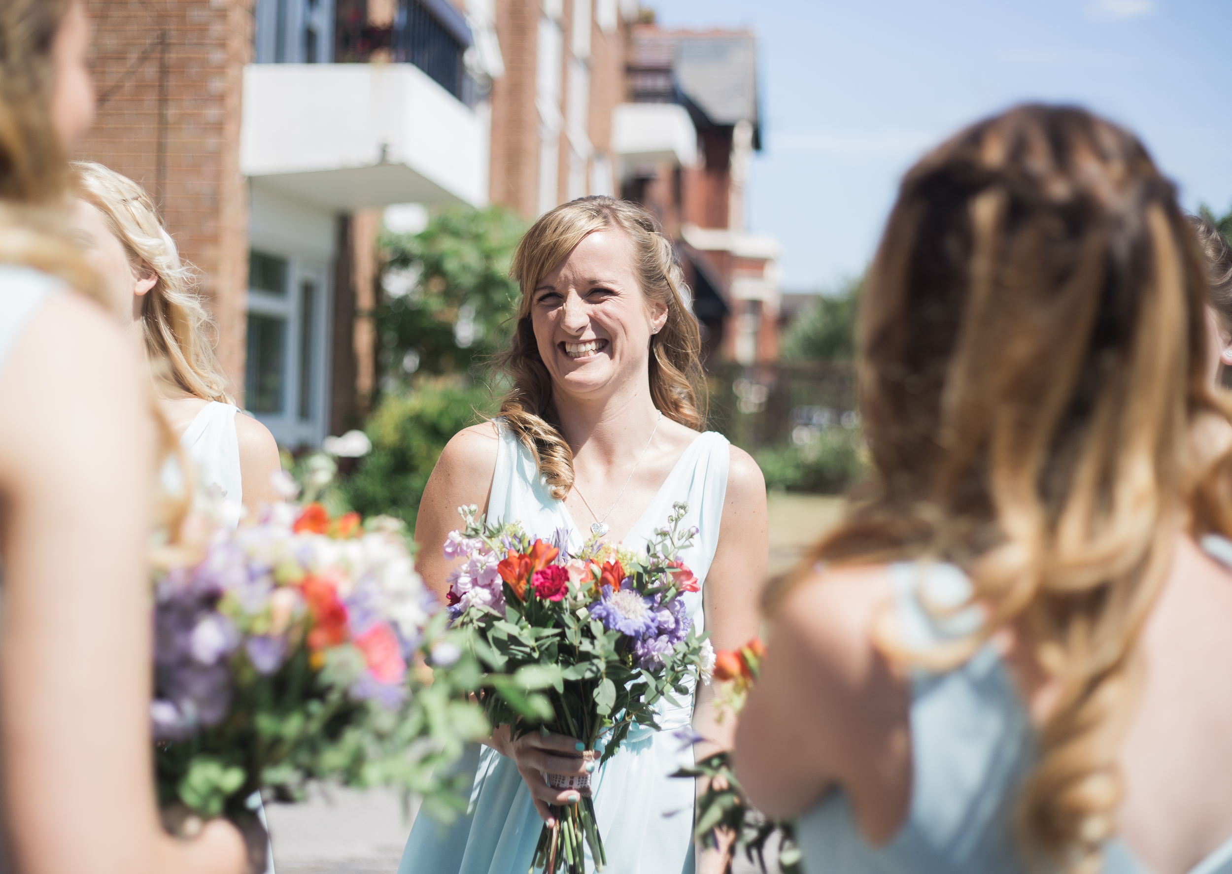 laughing bridesmaids - creative wedding photography Lancashire