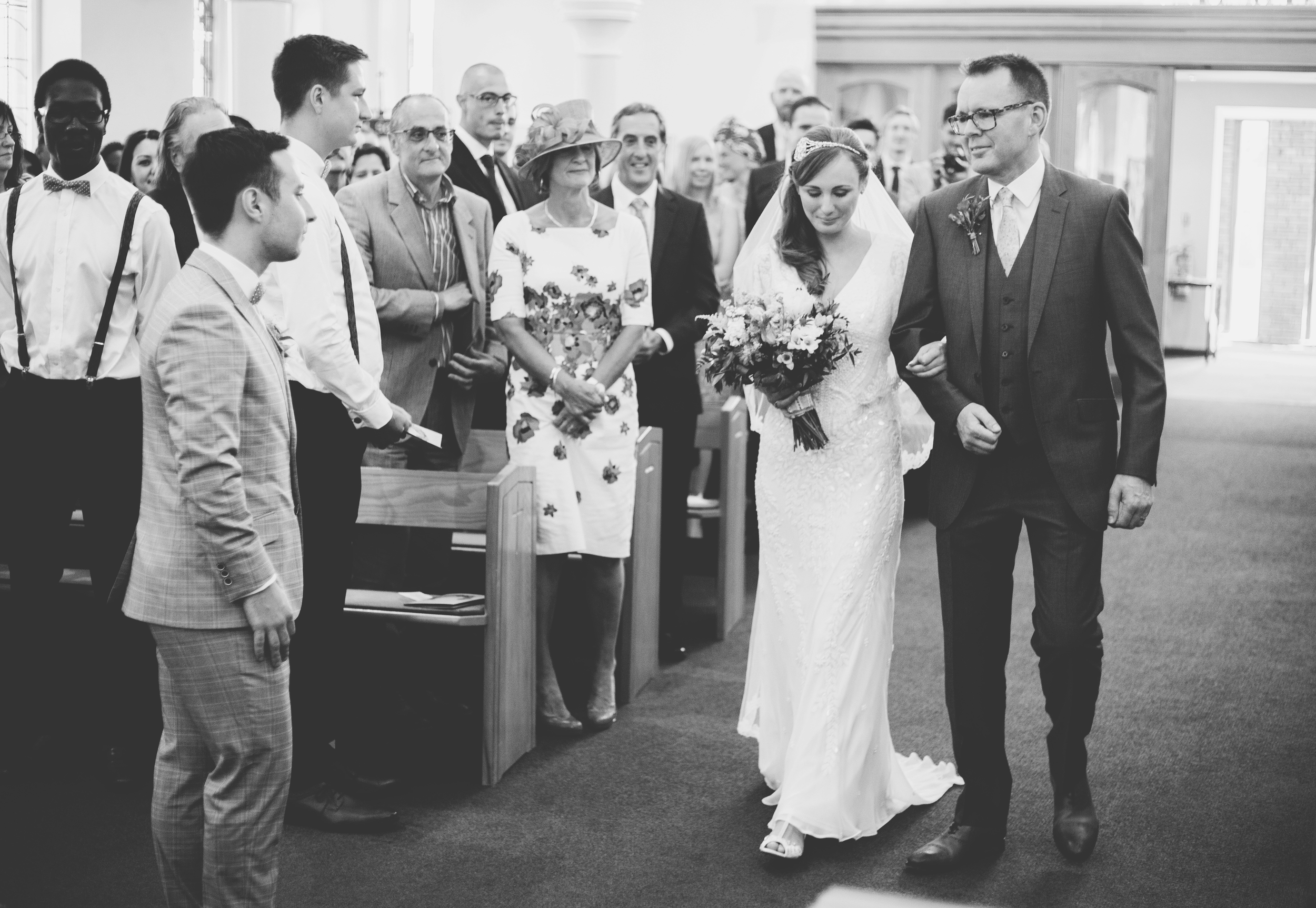 Bride walks down the aisle - southport wedding photographer