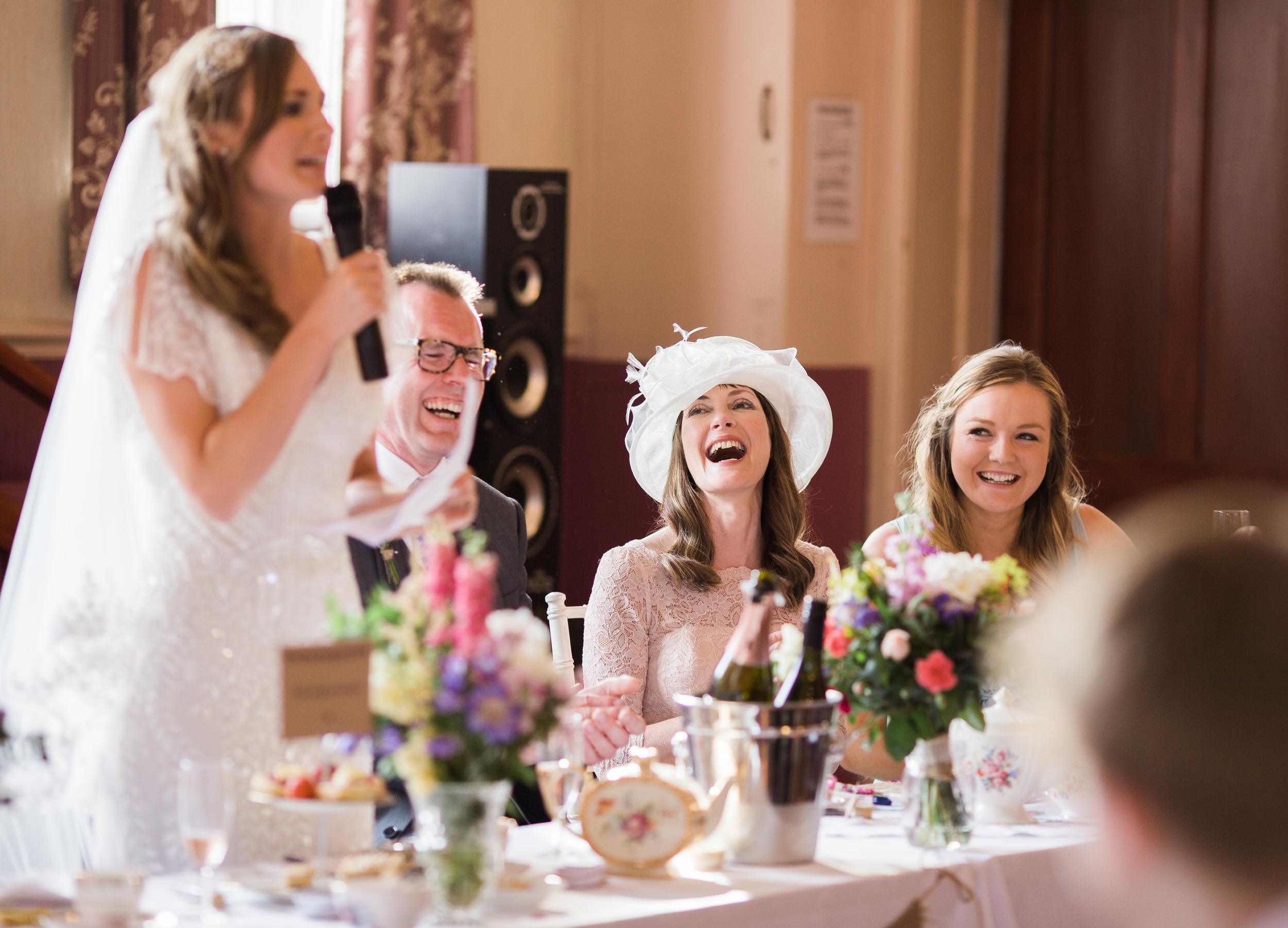 bride gives speech - wedding photography Rainford Village Hall