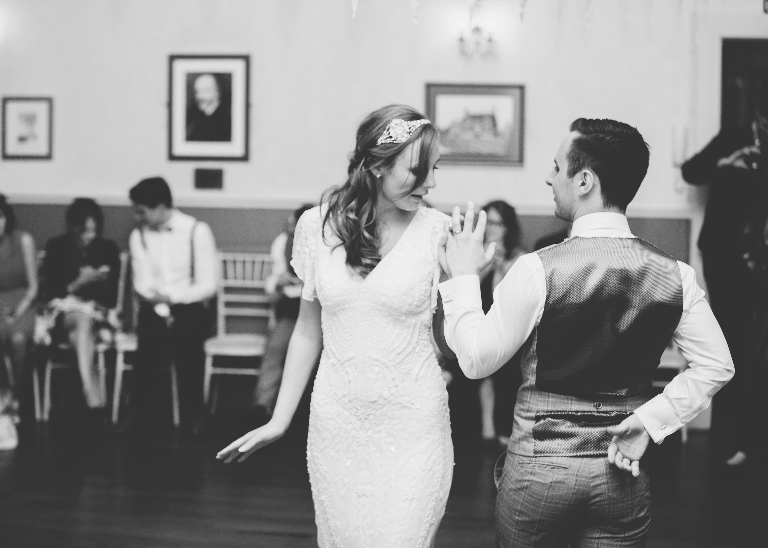 bride and groom dancing at Rainford Village hall