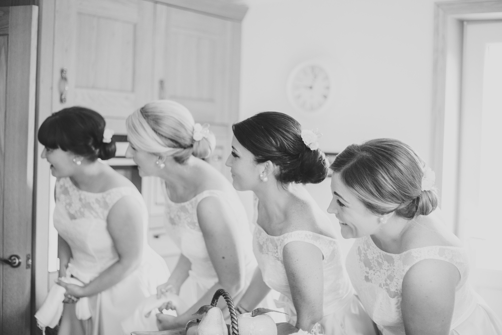 Black and white photograph of the bridesmaids.