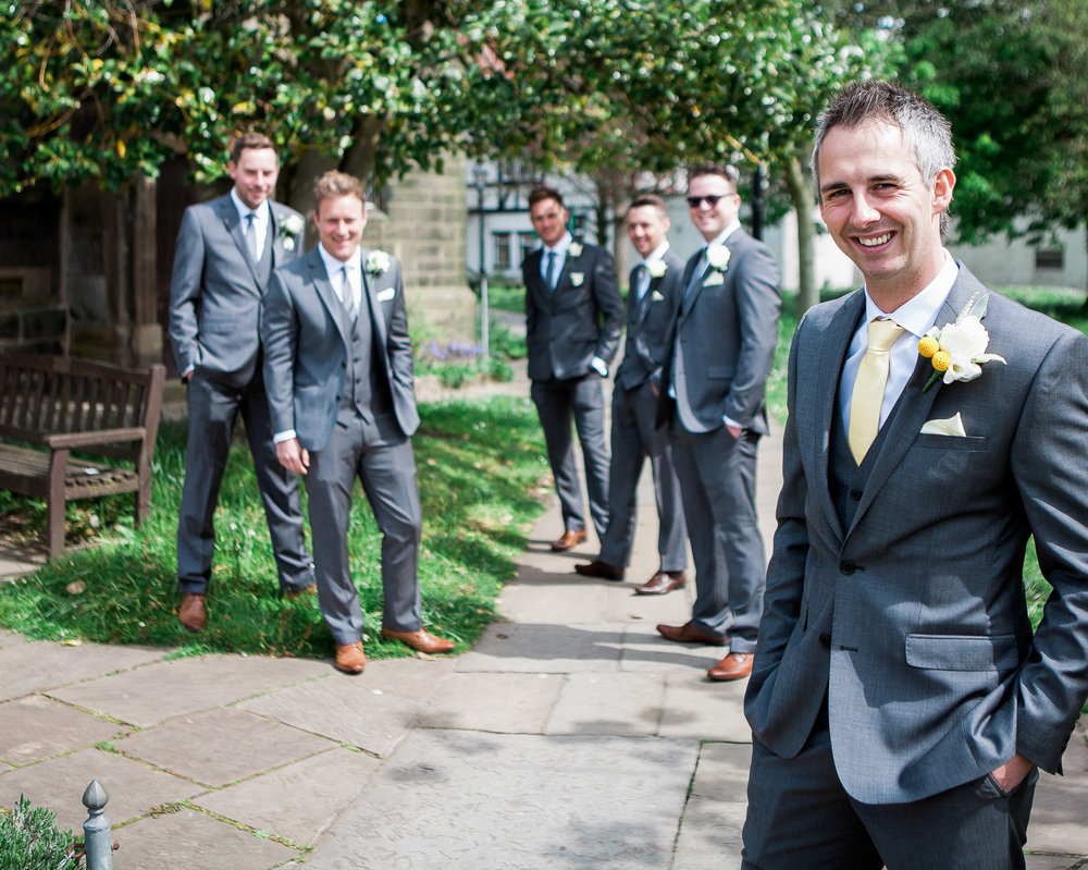 grooms and groomsmen - outside church at lancashire wedding
