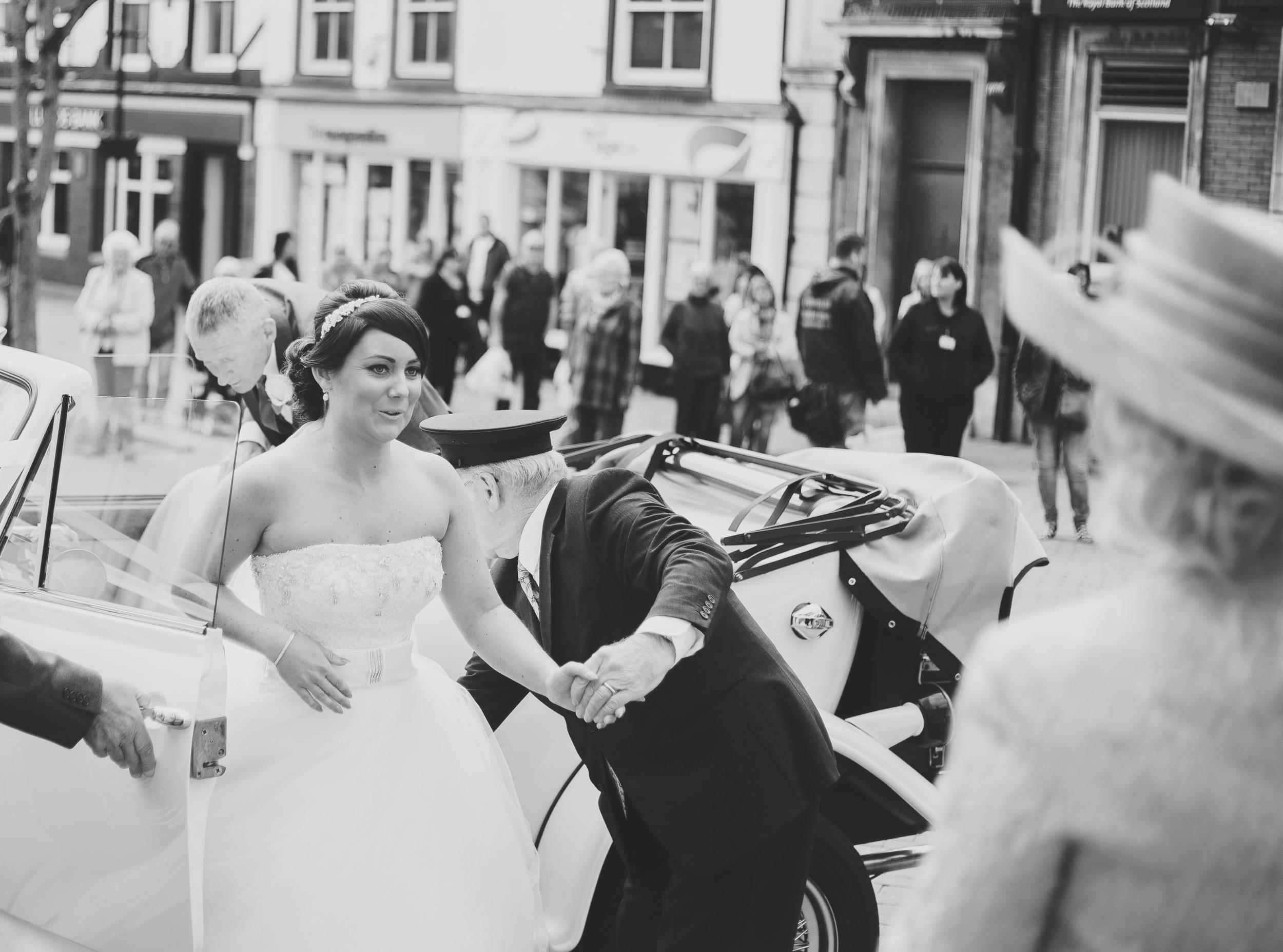 bride arrives at church - Lancashire wedding