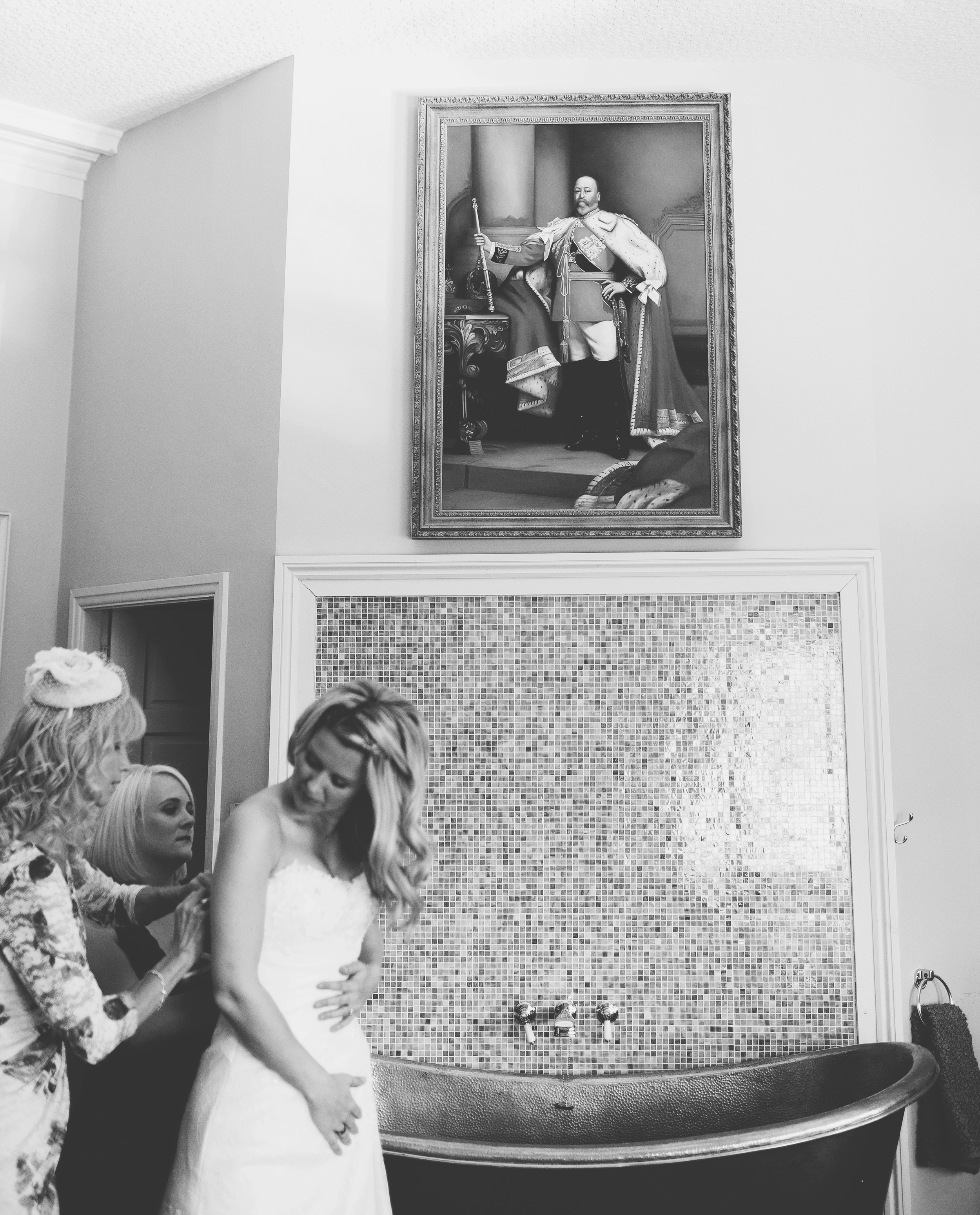 bride getting dressed at Churchill Hotel York