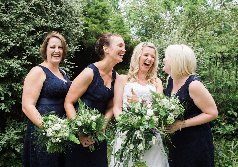 The bride and her bridesmaids in York.