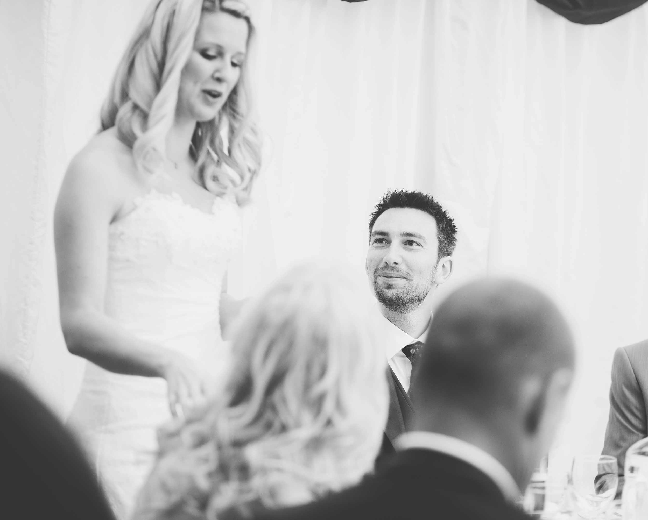 bride gives speech - churchill hotel wedding