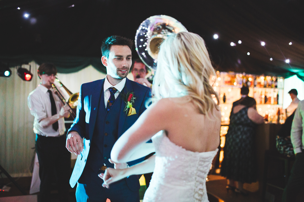 The bride and groom hitting the dance floor.