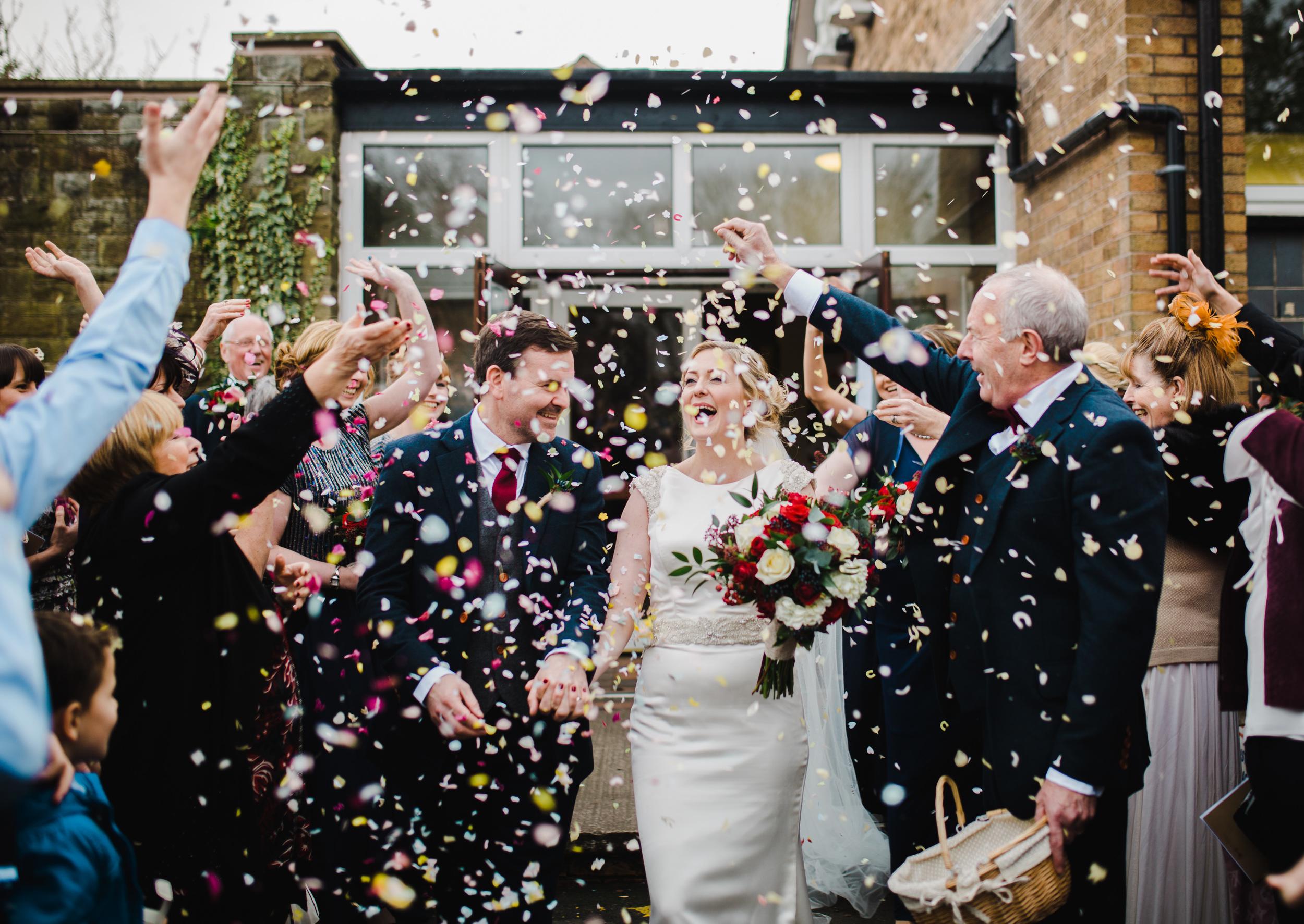 confetti outside manchester wedding