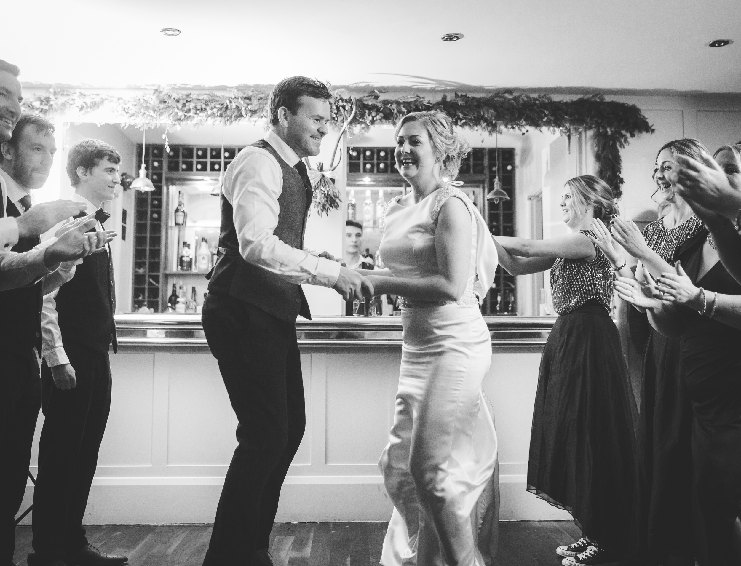 bride and groom doing the Ceilidh - manchester wedding