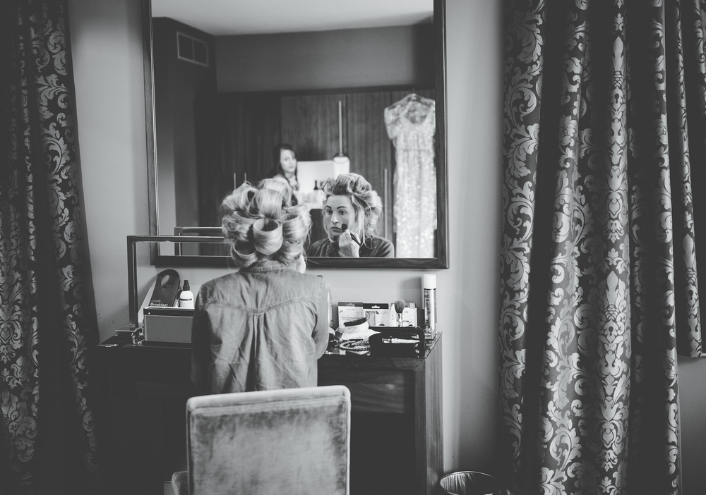 Documenary photography of the bride getting ready - Oak Tree of Peover wedding venue