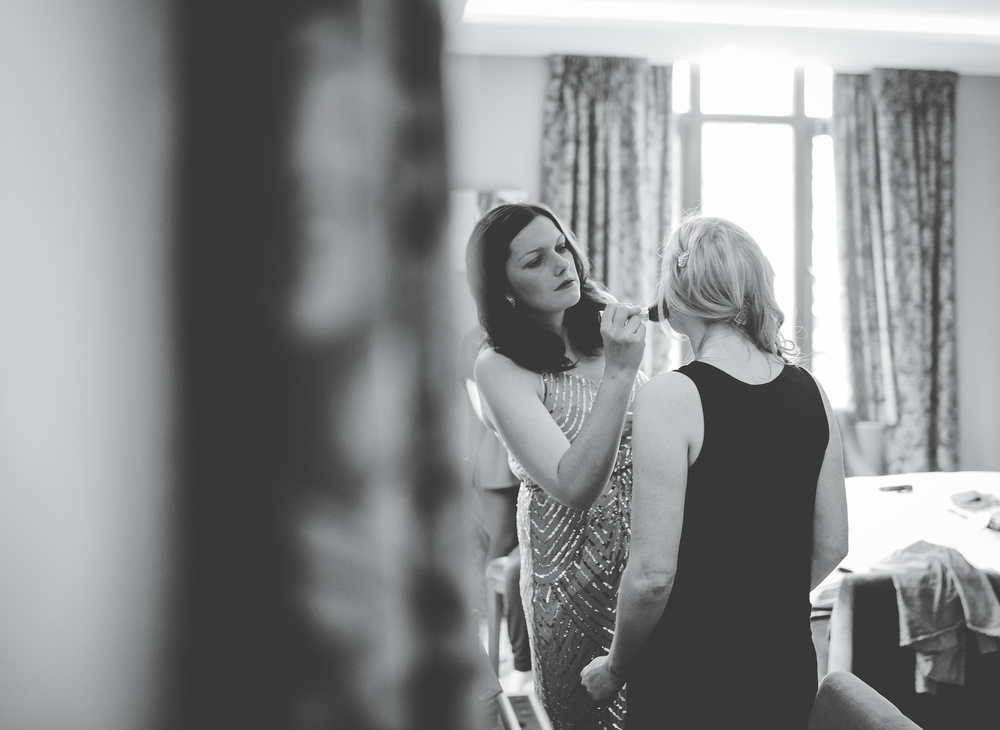 Finishing touches for the bride- Cheshire wedding photography.