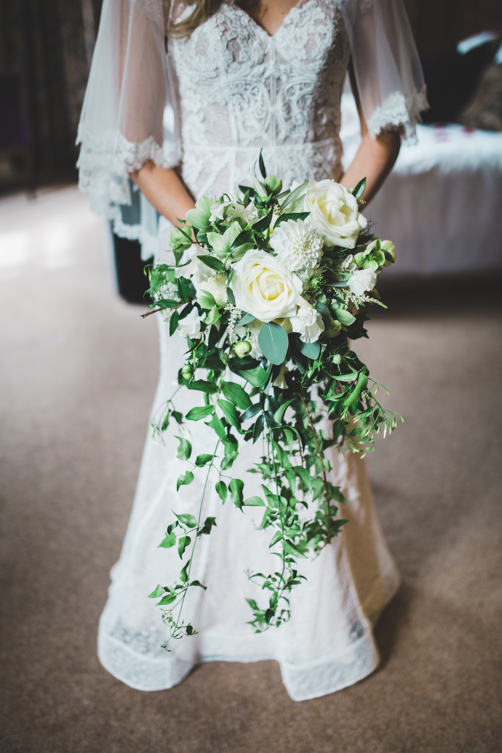 The bride and her bouquet.- Cheshire wedding photographer.