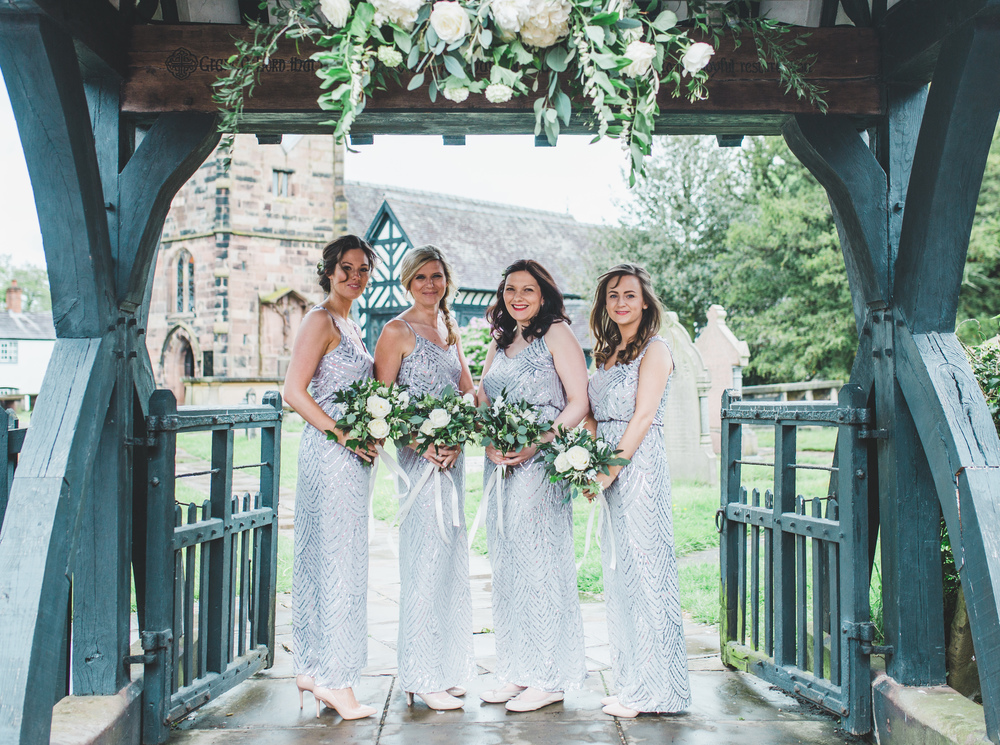 The bridesmaids outside The Oak Tree of Peover.