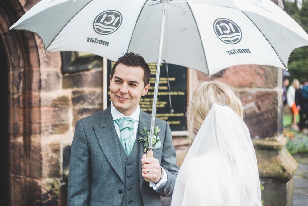 Umbrellas needed for the Cheshire wedding.