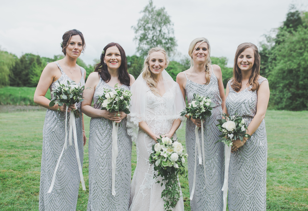 The bride and her bridesmaids at The Oak Tree of Peover