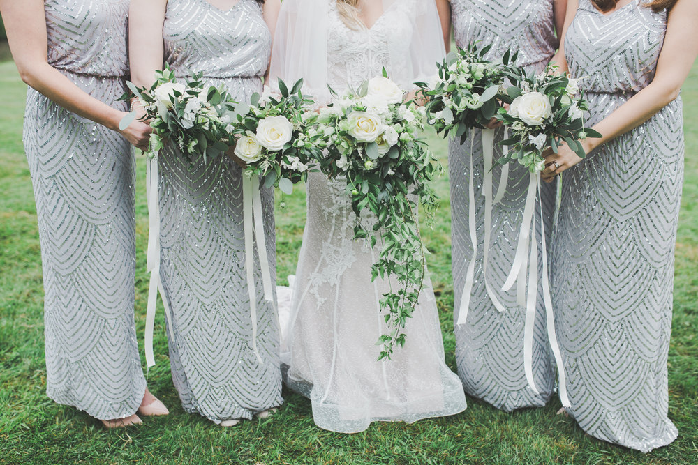 All the flower bouquets. -Wedding photography in Cheshire.