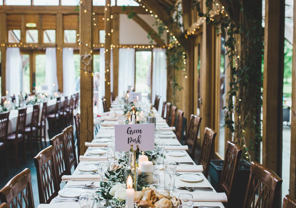 Beautiful table decorations. -Documentary wedding photography, Cheshire.